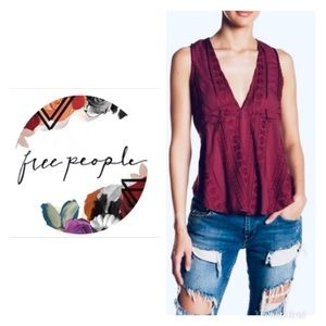 Free People deep v neck tank with tied back